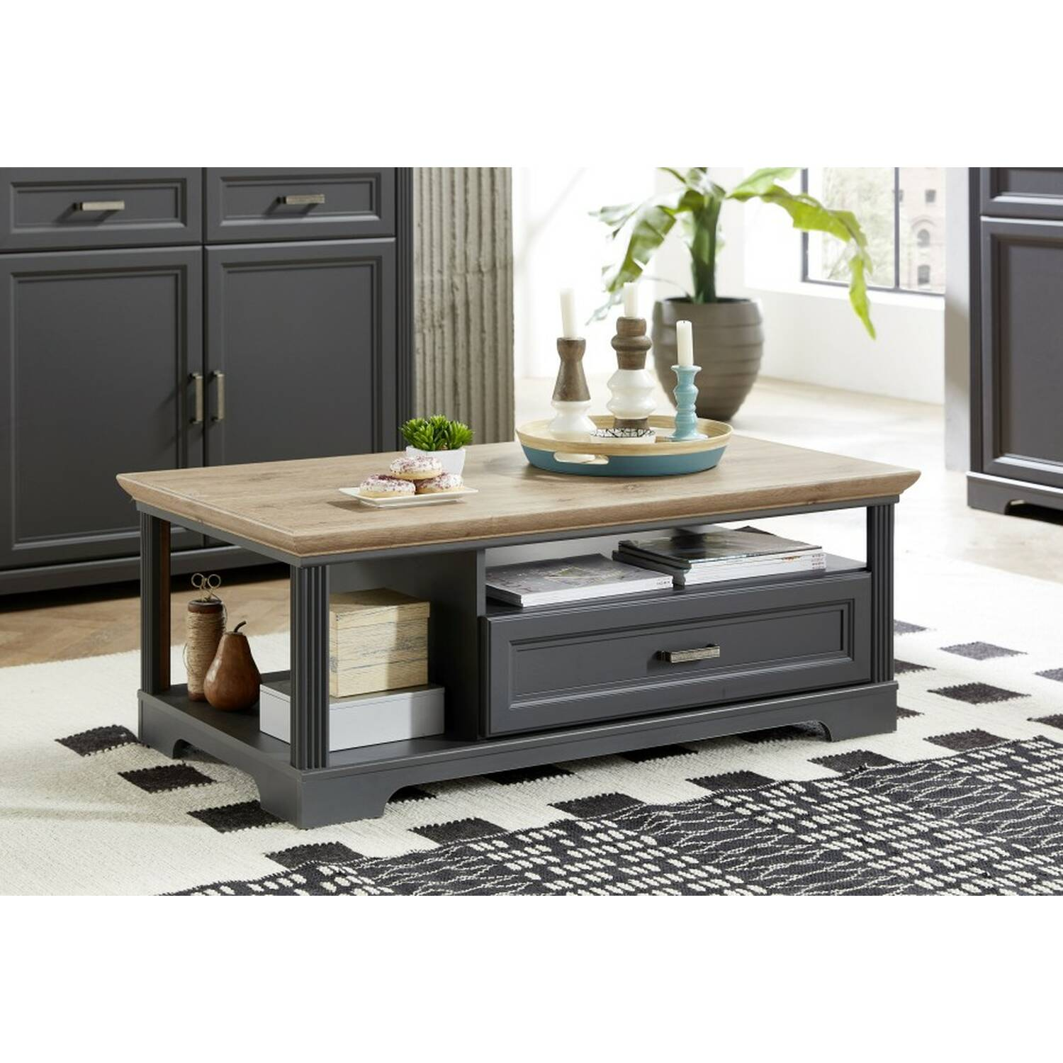 - Coffee Table In Country House Style Decor Graphite JÜLICH-36 With Top