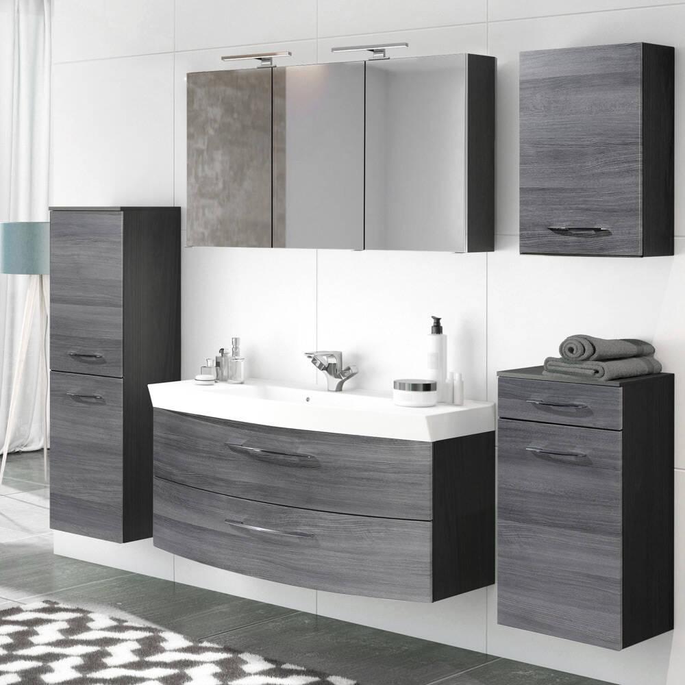 Badezimmermöbel Set Komplett mit 120cm Waschtisch & Spiegelschrank FLORIDO-03 Eiche Rauchsilber, graphitgrau B x H x T: ca. 230 x 200 x 47 cm