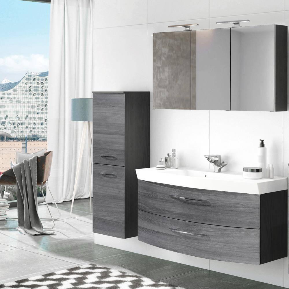 Badmöbel Waschplatz Set mit 120cm Waschtisch & Spiegelschrank FLORIDO-03 Eiche Rauchsilber, graphitgrau B x H x T: ca. 175 x 200 x 47 cm