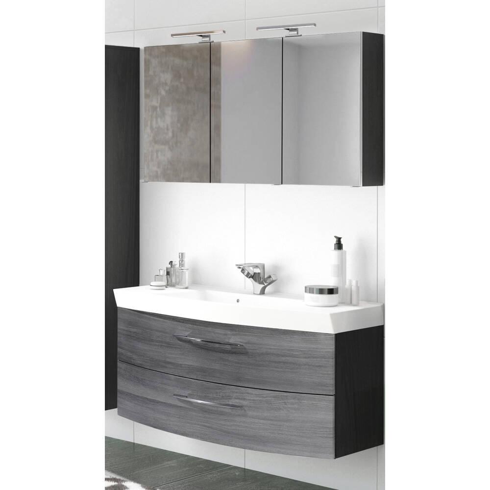 Badmöbel Waschplatz Set mit Waschtisch & LED-Spiegelschrank FLORIDO-03 Eiche Rauchsilber, graphitgrau B x H x T: ca. 120 x 200 x 47 cm