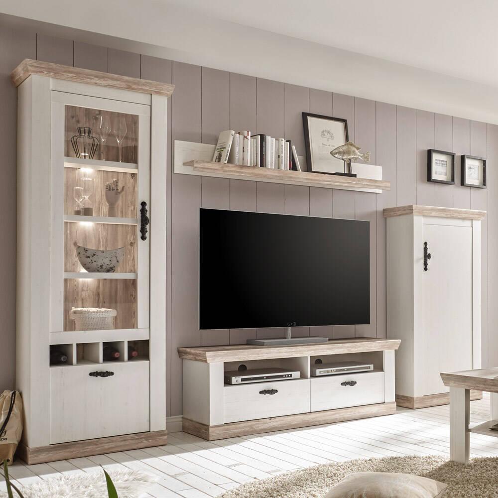 Wohnwand 4-tlg FERNA-61 mit TV-Lowboard im Landhaus Stil in Pinie weiß & dunkel Nb. mit B/H/T ca. 296x201x44cm