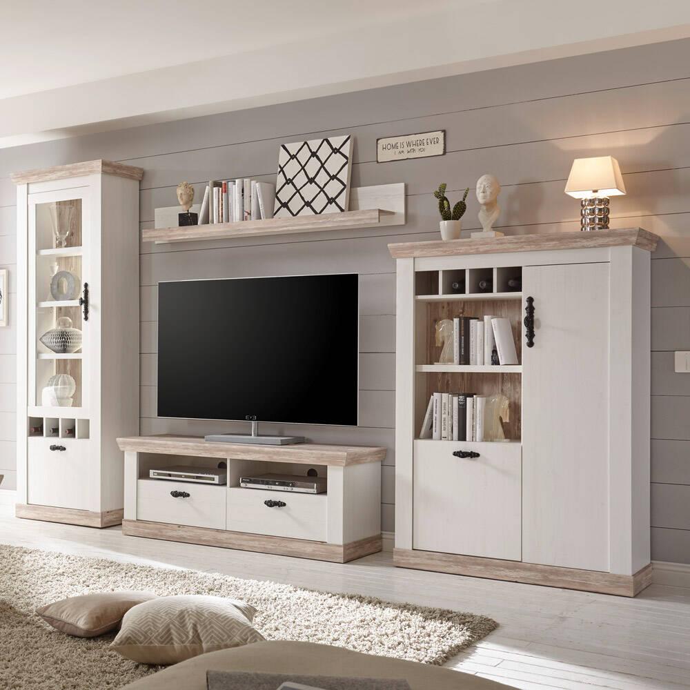 Moderne Wohnwand FERNA-61 im Dekor Pinie weiß und Oslo dunkel Nb. Landhaus Design inkl. LED B/H/T ca. 330x201x44cm