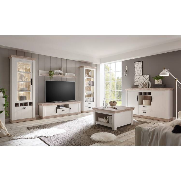 landhaus wohnwand inkl couchtisch sideboard ferna 61 in. Black Bedroom Furniture Sets. Home Design Ideas