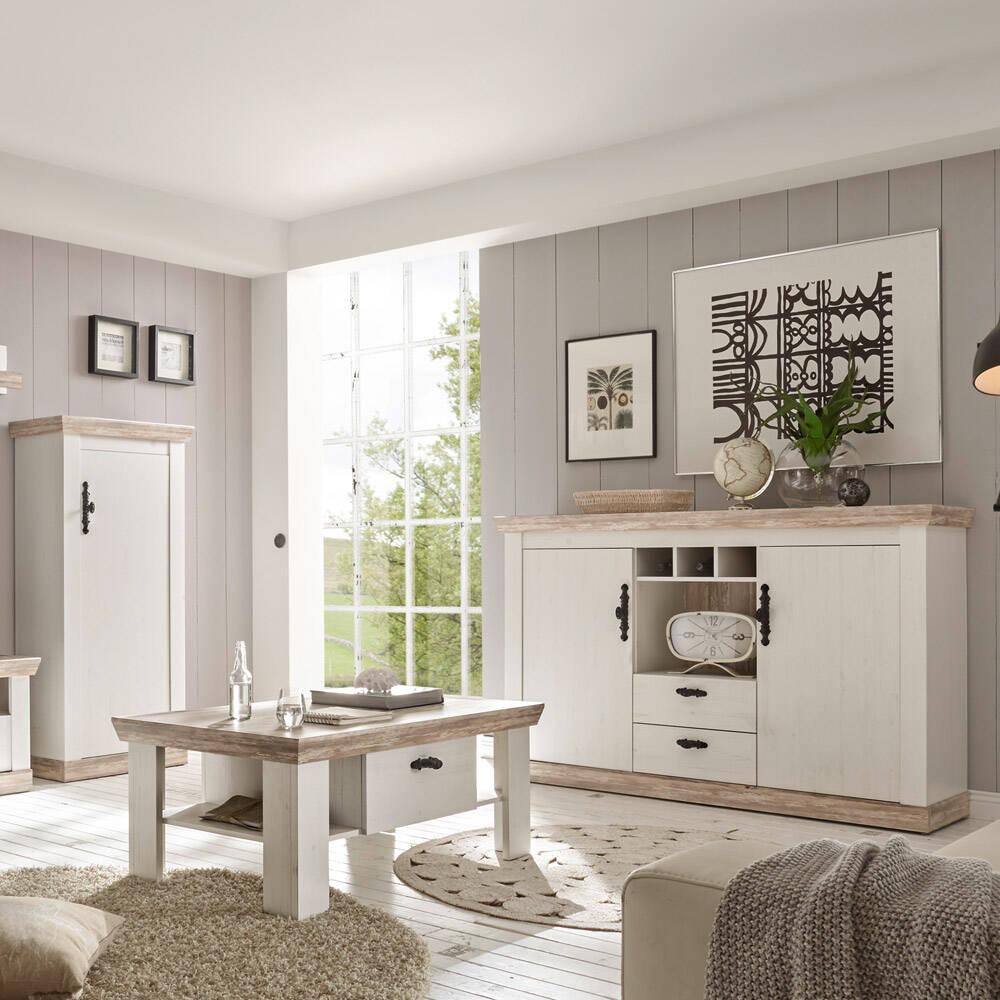 Wohnmöbel Kombination FERNA-61 in Landhaus Pinie weiß und Oslo Nb. Couchtisch Kommode und Sideboard