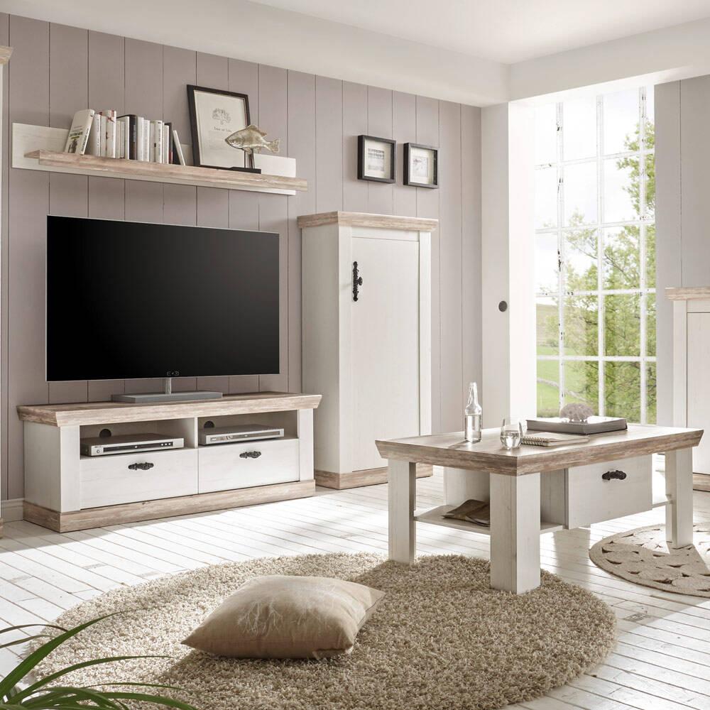 Wohnmöbel-Set im Landhaus-Design FERNA-61 in Pinie weiß und Oslo dunkel Nb. mit TV-Lowboard und Couchtisch B/H/T ca. 215x201x44 cm