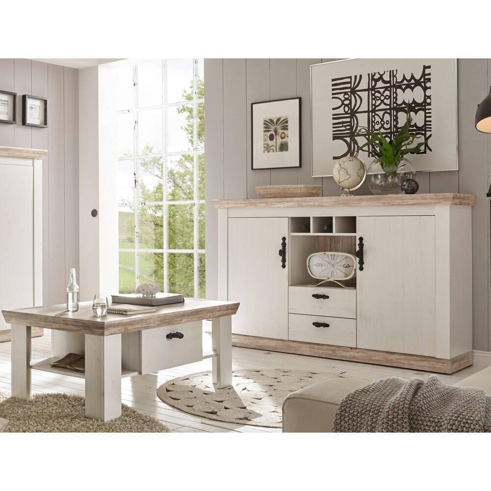 Sideboard & Couchtisch Set FERNA-61 Dekor Pinie weiß und Oslo dunkel Nb. im Landhaus-Design B/H/T ca. 168x104x44 cm