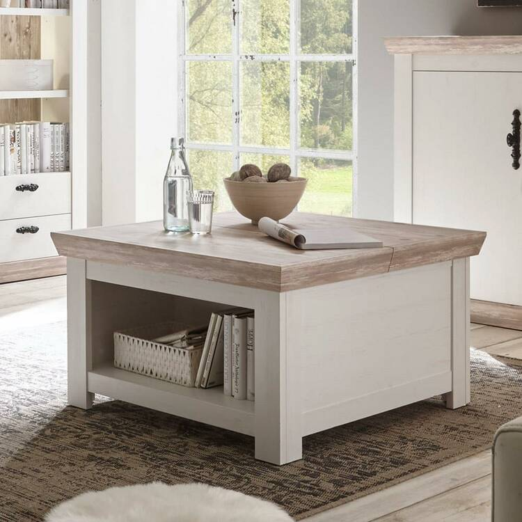 Cottage Wall Unit And Coffee Table Ferna 61 Pine White And Oslo Dark N