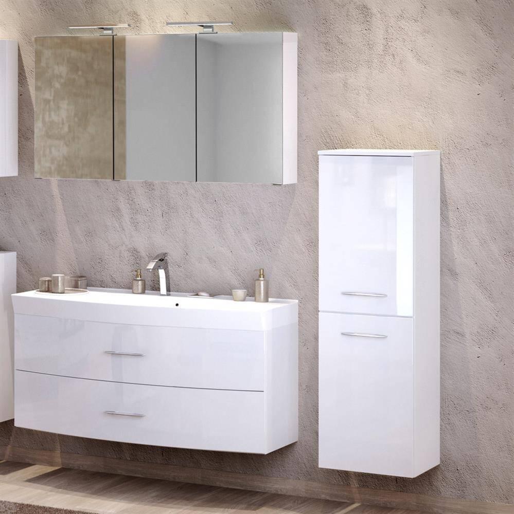 Badmöbel Waschplatz Set mit Waschtisch FLORIDO-03 Hochglanz weiß B x H x T: ca. 175 x 200 x 47 cm