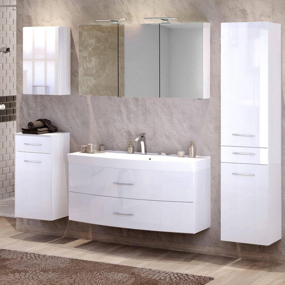 Badmöbel Set mit 120cm Waschtisch & Hochschrank FLORIDO-03 Hochglanz weiß B x H x T: ca. 230 x 200 x 47 cm