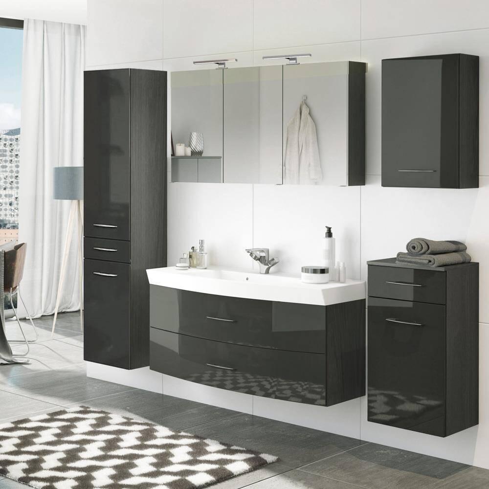 Badmöbel Komplettset mit 120cm Waschtisch & Hochschrank FLORIDO-03 Hochglanz grau B x H x T: ca. 230 x 200 x 47 cm