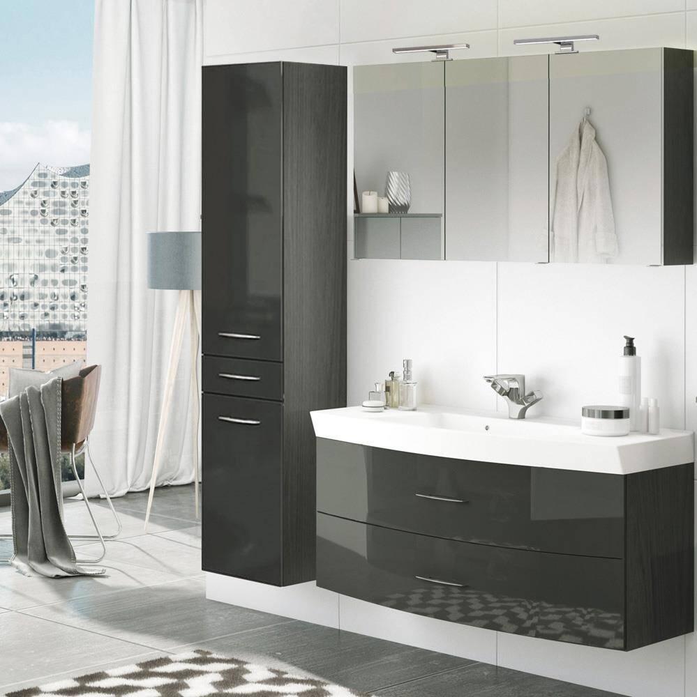 Badmöbel Waschplatz Set mit Hochschrank FLORIDO-03 Hochglanz grau, graphit B x H x T: ca. 175 x 200 x 47 cm