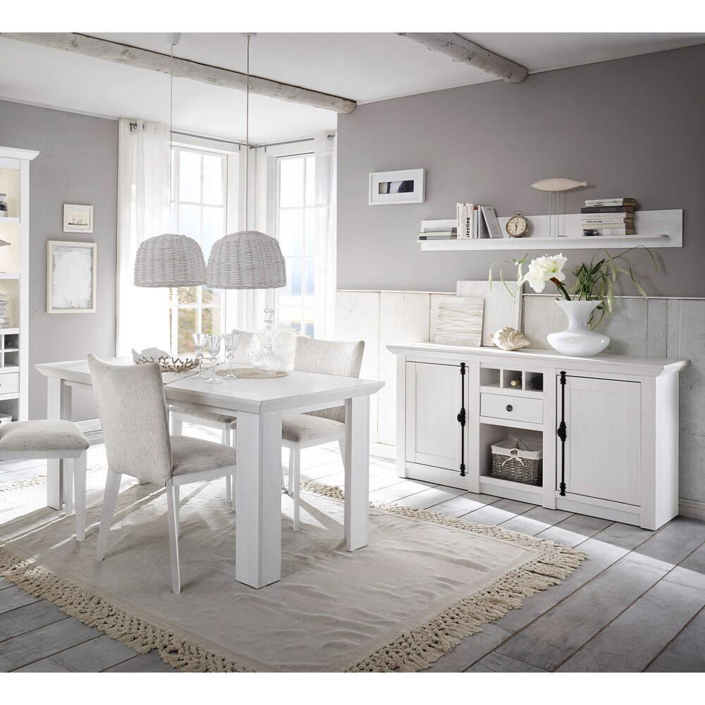 Landhaus Esszimmer-Set WINGST-61 in Pinie weiß Nb. mit Sideboard (ohne Stühle) Stellmaß Sideboard ca. 83 cm