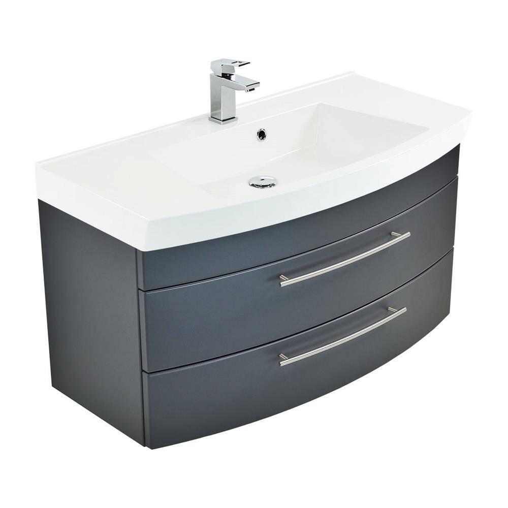 Badezimmer Waschtisch100cm LUINO-02 anthrazit seidenglanz inkl. Waschbecken B/H/T 100,5/57,2/50,2 cm