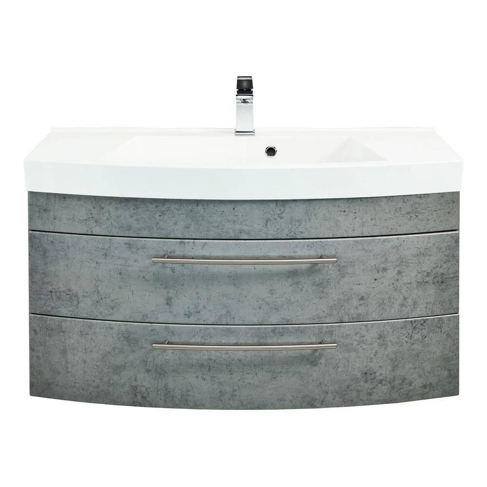 Waschplatz 100 cm LUINO-02 100 mit runder Front in Beton-Optik inkl. Mineralguss-Becken