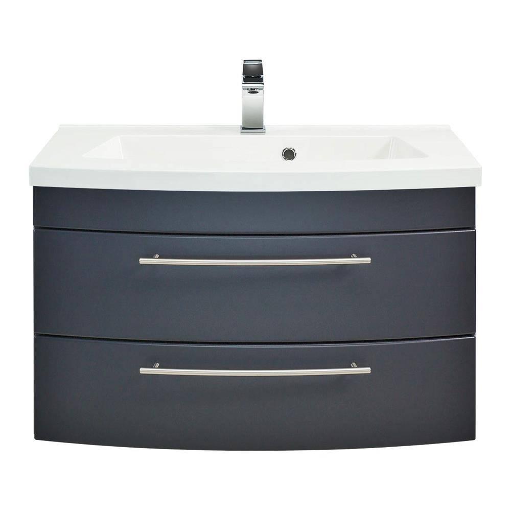 Waschplatz LUINO-02 80 mit runder Front im Dekor anthrazit seidenglanz inkl. Mineralguss-Becken
