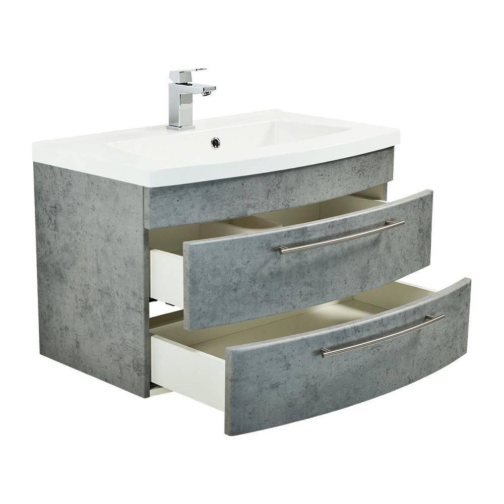 Badmöbel Waschtisch 80cm LUINO-02 Beton-Optik mit Mineralguss-Waschbecken B/H/T 82/53/49cm