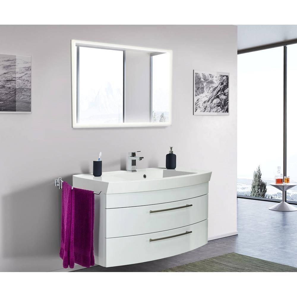 Badmöbelset Hochglanz weiß LUINO-02 100 mit runder Front Waschplatz und LED Spiegel 100 cm