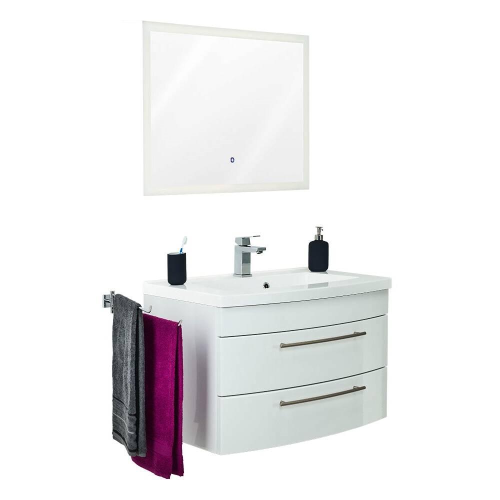 Waschplatz Set mit 80cm Waschtisch LUINO-02 Hochglanz weiß