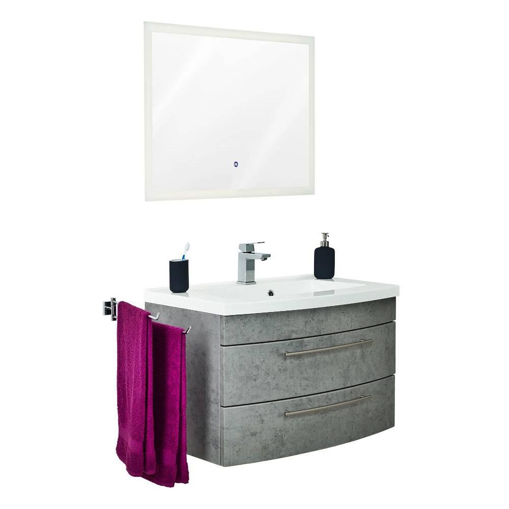 Badmöbel-Set in Beton-Optik LUINO-02 Waschtisch 80cm und LED-Touch-Spiegel