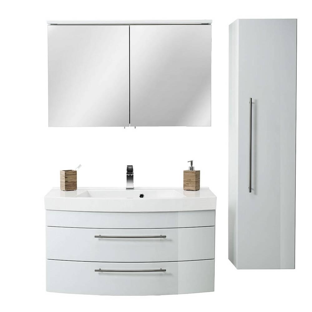 Badmöbel Set mit 100cm Waschtisch LUINO-02 LED-Spiegelschrank & Hochschrank Hochglanz weiß B/H/T 150,5/57,2/50,2 cm