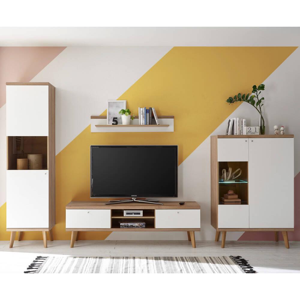 Wohnwand mit 2 Vitrinenschränken MAINZ-61 in weiß matt mit Eiche Riviera Nb. B/H/T ca. 320x197x40cm