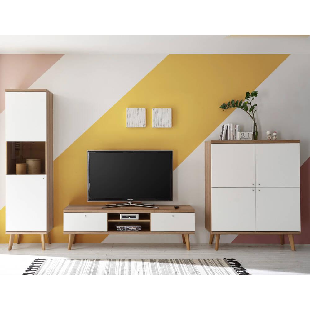 Retro Wohnzimmer Wohnwand MAINZ-61 in weiß matt mit Eiche Riviera Nb. B/H/T ca. 337x197x40cm
