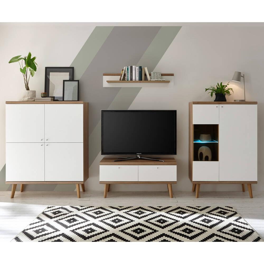 Wohnwand MAINZ-61 in weiß matt mit Eiche Riviera Nb. inkl. LED-Beleuchtung B/H/T ca. 324x160x40cm