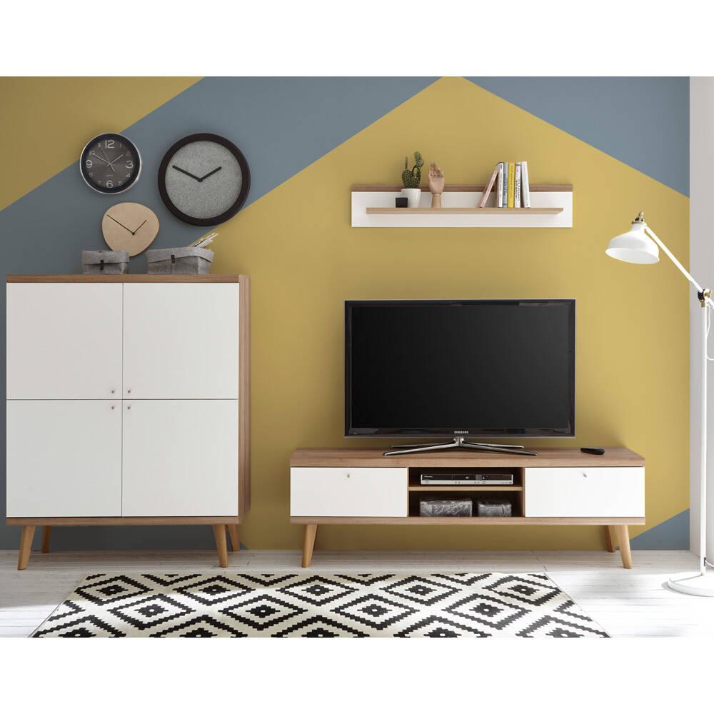 Wohnwand mit Highboard MAINZ-61 weiß matt mit Eiche Riviera Nb. B/H/T ca. 277x160x40cm