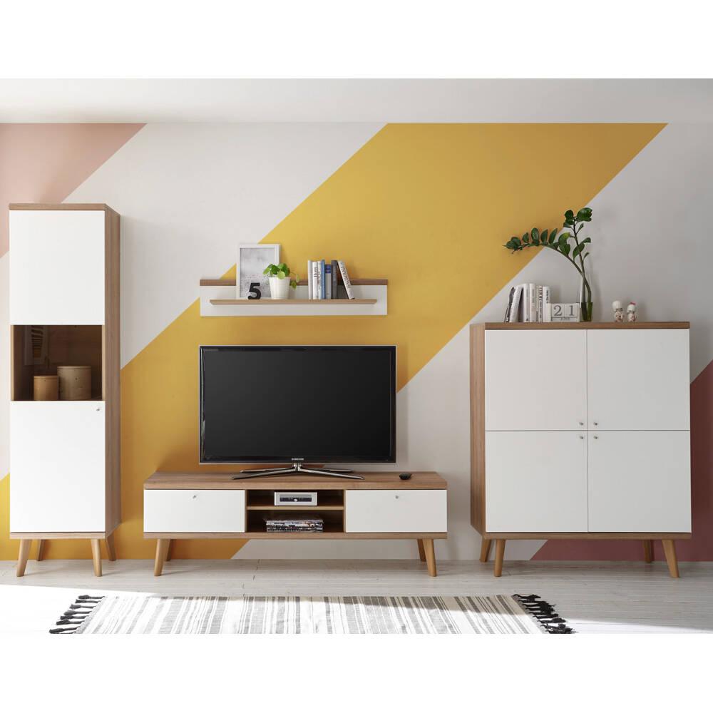 Wohnzimmer Wohnwand-Set mit Lowboard MAINZ-61 weiß matt mit Eiche Riviera Nb. Retro-Stil B/H/T ca. 337x197x40cm