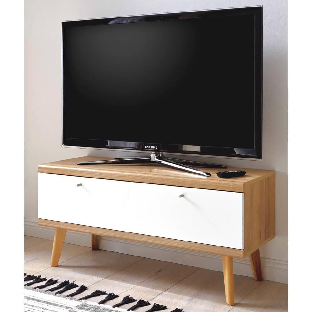 Retro TV-Lowboard mit 2 Klappen MAINZ-61 weiß matt mit Eiche Riviera Nb. B/H/T ca. 107x50x40cm