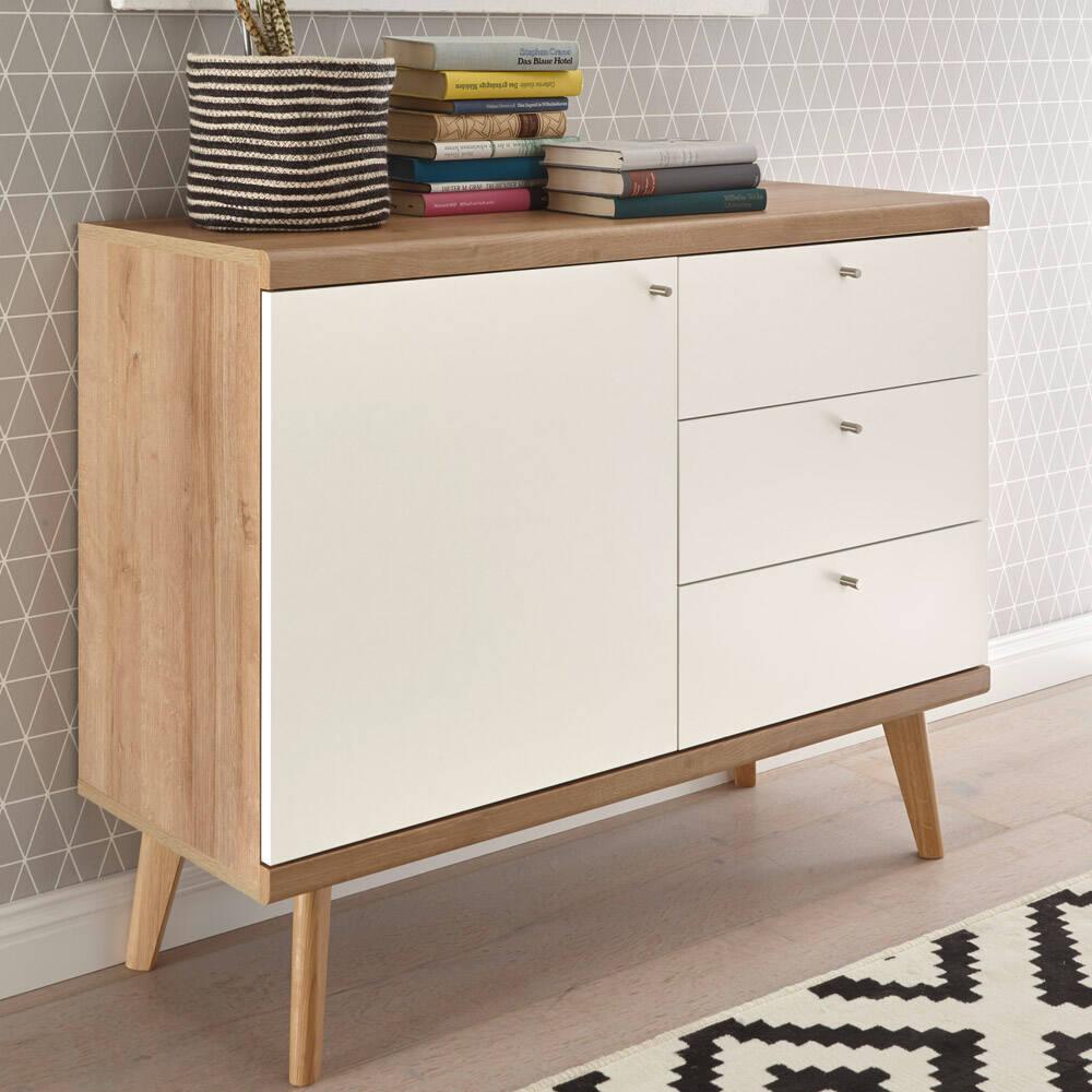 Sideboard Schubkasten-Kommode im Retro Design MAINZ-61 weiß matt mit Eiche Riviera Nb. B/H/T ca. 107x83x40cm