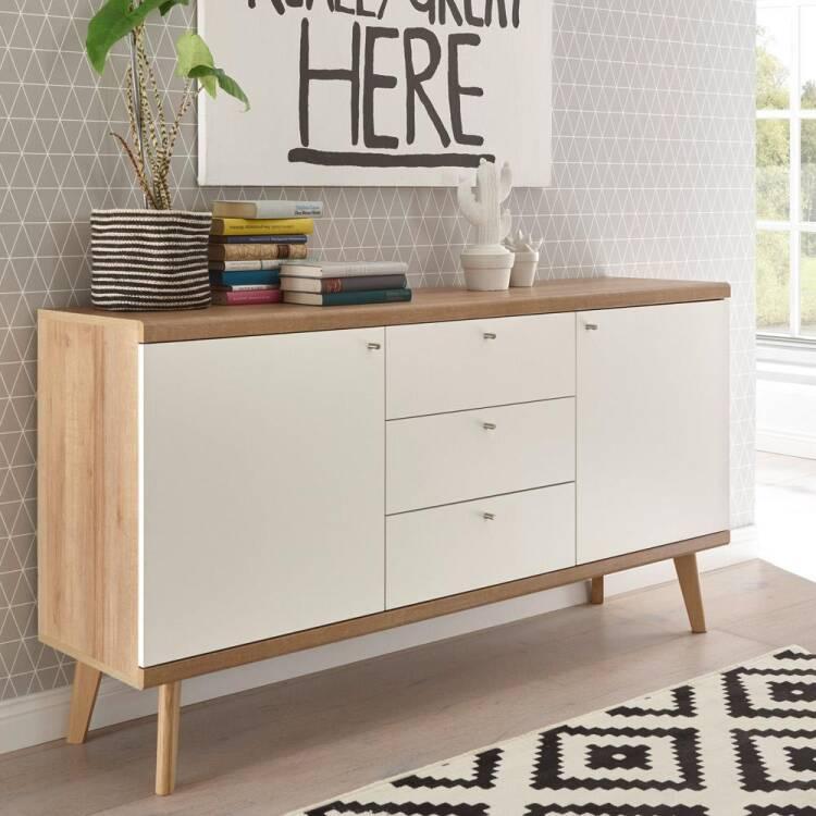 Wohnzimmer Sideboard MAINZ-8 Retro skandinavisch weiß matt mit Eiche