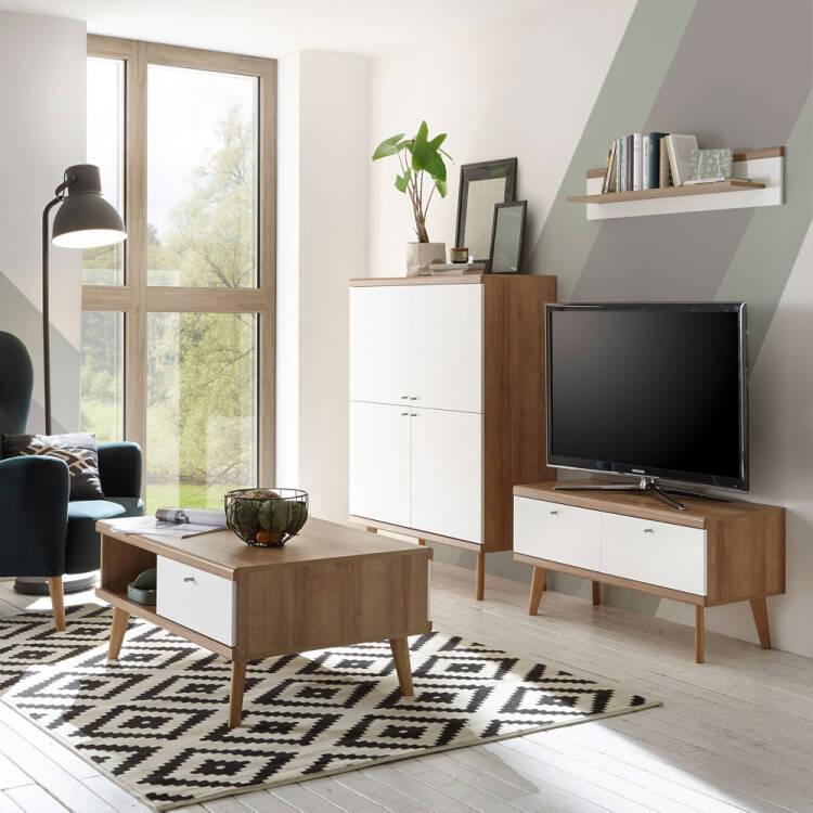 Wohnzimmer-Couchtisch MAINZ-61 im Retro Design Dekor weiß matt mit Eic