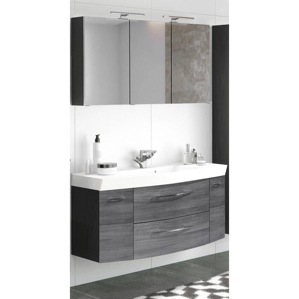 Badmöbel Waschplatz Set 2-tlg mit Waschtisch & LED-Spiegelschrank FLORIDO-03 Eiche Rauchsilber, graphitgrau B x H x T: ca. 120 x 200 x 47 cm