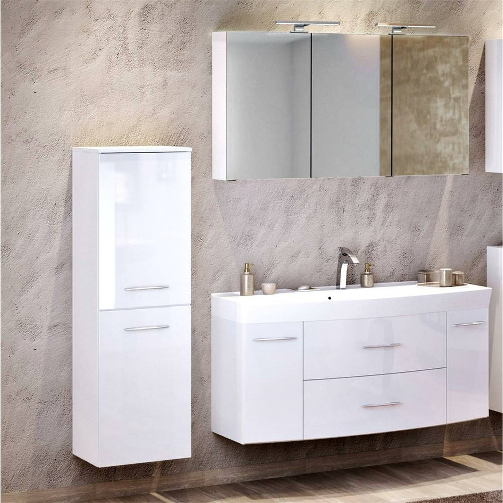 Badmöbel Waschplatz Set 3-tlg mit Waschtisch FLORIDO-03 Hochglanz weiß B x H x T: ca. 175 x 200 x 47 cm