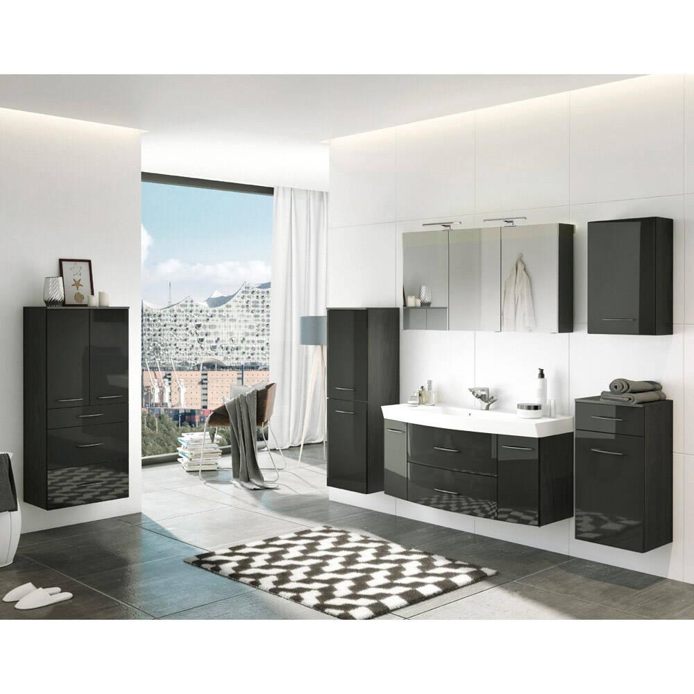 Badmöbel Set Komplett inkl. Highboard FLORIDO-03 in Hochglanz grau, graphit, B x H x T: ca. 305 x 200 x 47 cm