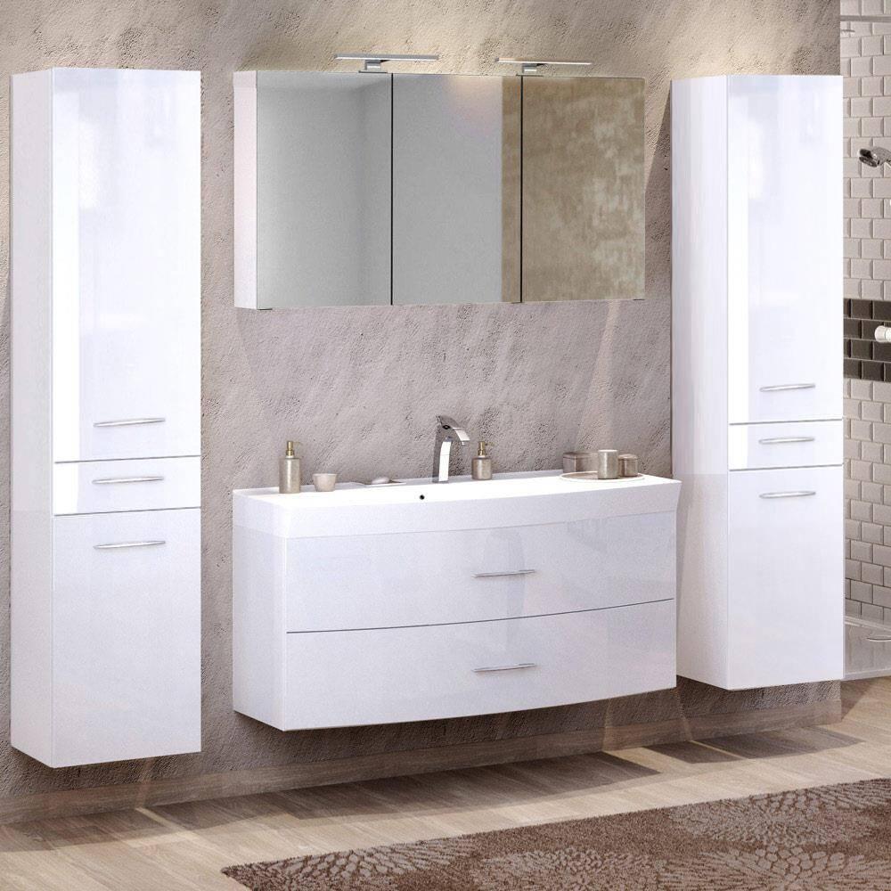 Badmöbel Set 4-tlg mit 2 Hochschränken & 120cm Waschtisch FLORIDO-03 in Hochglanz weiß B x H x T: ca. 230 x 200 x 47 cm