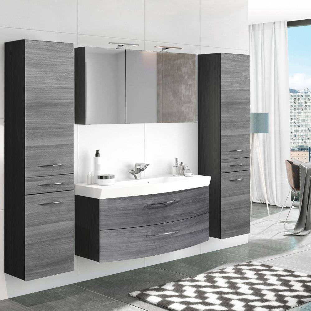 Badmöbel Set 4-tlg mit 120cm Waschtisch & Spiegelschrank FLORIDO-03 Eiche Rauchsilber mit 2 Hochschränken B x H x T: ca. 230 x 200 x 47 cm