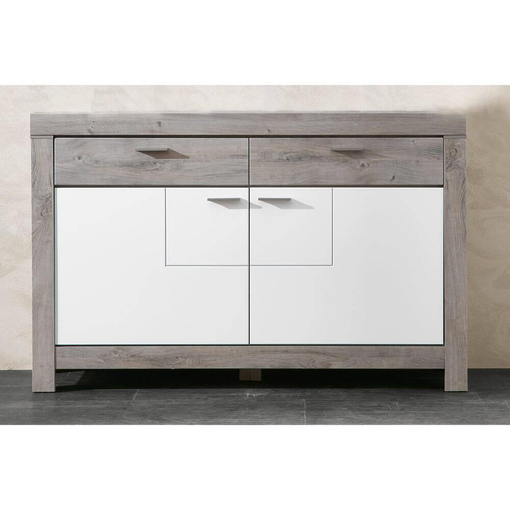 Modernes Sideboard in weiß matt und Haveleiche Nb. GRONAU-55 BxHxT: 156x100x42cm