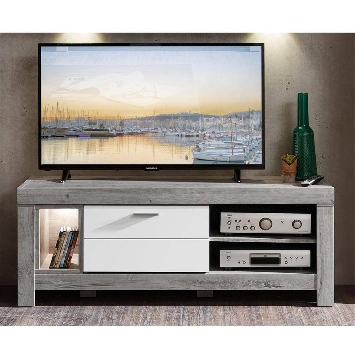 Modernes TV-Lowboard inkl. LED in weiß matt und Haveleiche GRONAU-55 BxHxT: 150x59x47cm