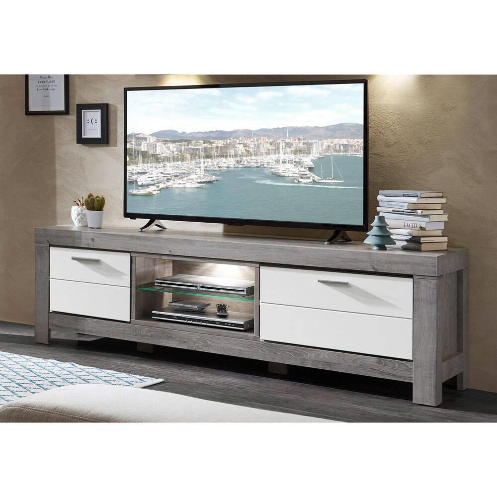 TV-Medien-Schrank inkl. LED in weiß matt und Haveleiche Nb. GRONAU-55 BxHxT: 180x59x48cm