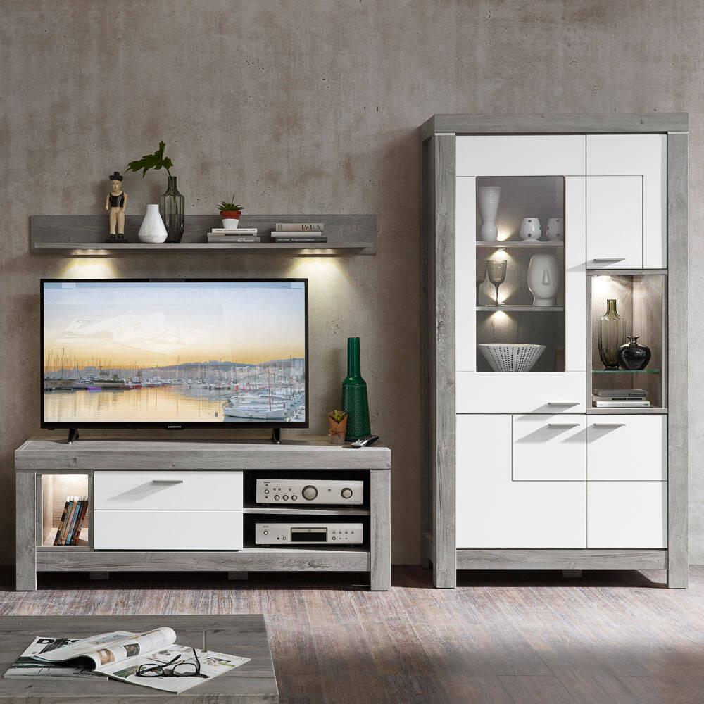 Wohnwand TV-Möbel inkl. LED-Beleuchtung in weiß matt und Haveleiche Nb. GRONAU-55 BxHxT: 265x200x48cm