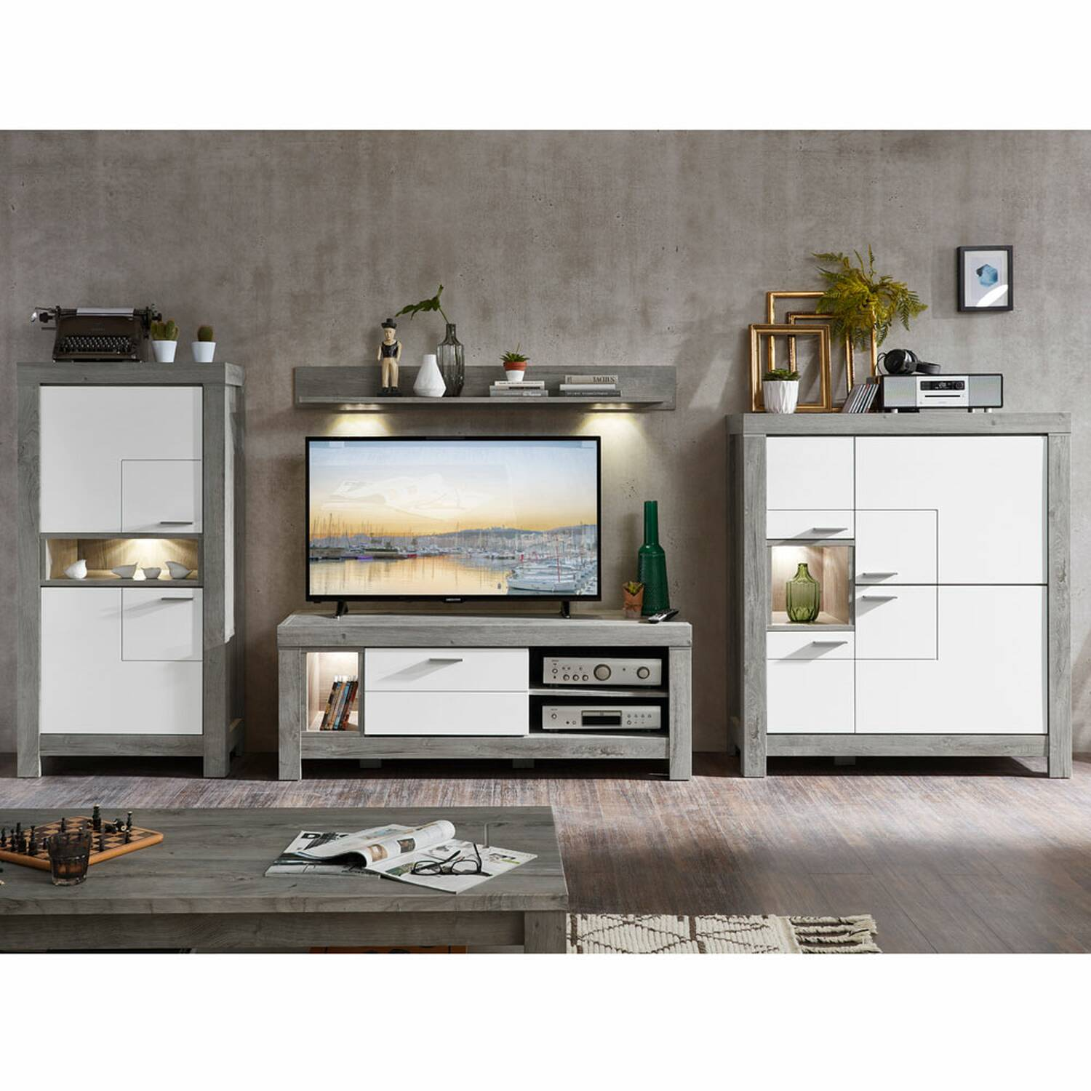 TV-Wohnlösung GRONAU-55 mit Front ind weiß matt und Korpus Haveleiche Nb. inkl. LED BxHxT: 374x160x48cm