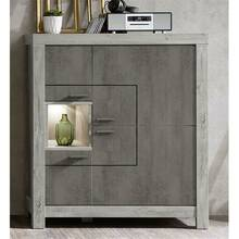 Highboard with front in concrete oxide and body...
