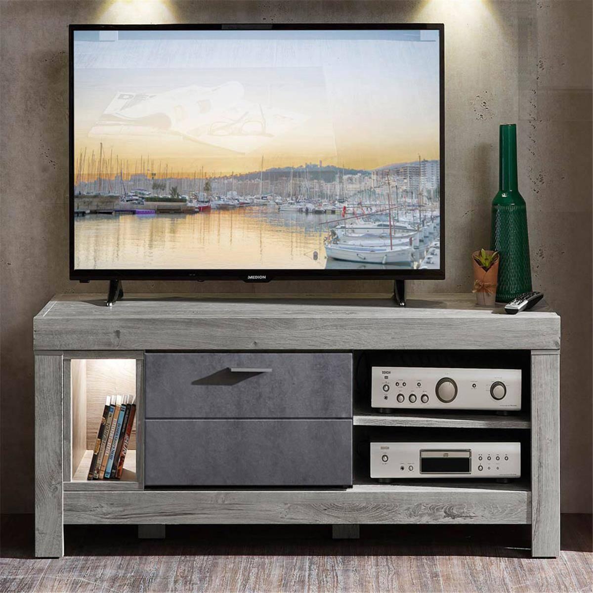 Modernes TV-Lowboard inkl. LED Betonoxid und Haveleiche GRONAU-55 BxHxT: 150x59x47cm
