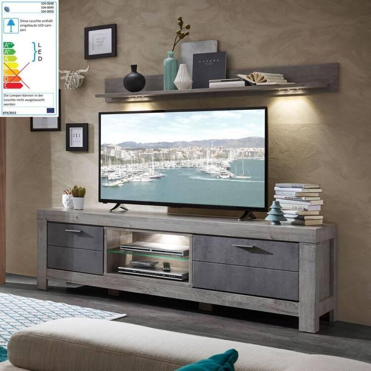 Wohnzimmer TV-Schrank inkl. LED in Betonoxid und Haveleiche Nb. GRONAU-55  BxHxT: 180x59x48cm