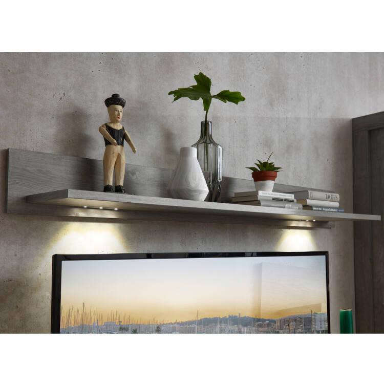 Wohnzimmer Wandboard mit LED-Beleuchtung in Haveleiche Nb. GRONAU-55 B