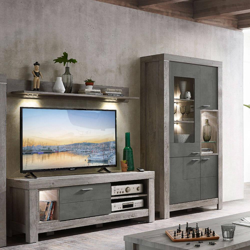 TV-Wohnmöbel inkl. LED-Beleuchtung in Betonoxid und Haveleiche Nb. GRONAU-55 BxHxT: 265x200x48cm