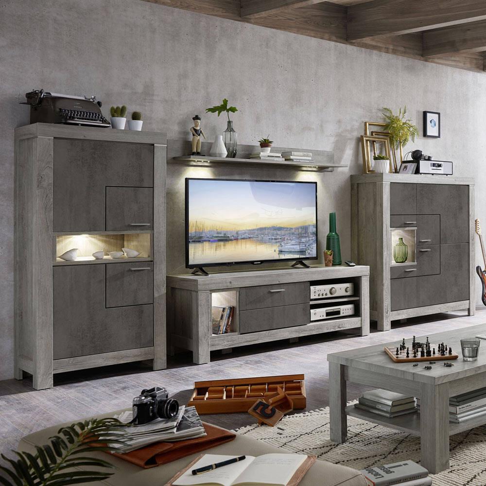 TV-Wohnlösung GRONAU-55 inkl. LED-Beleuchtung in Betonoxid und Haveleiche Nb. BxHxT: 374x160x48cm