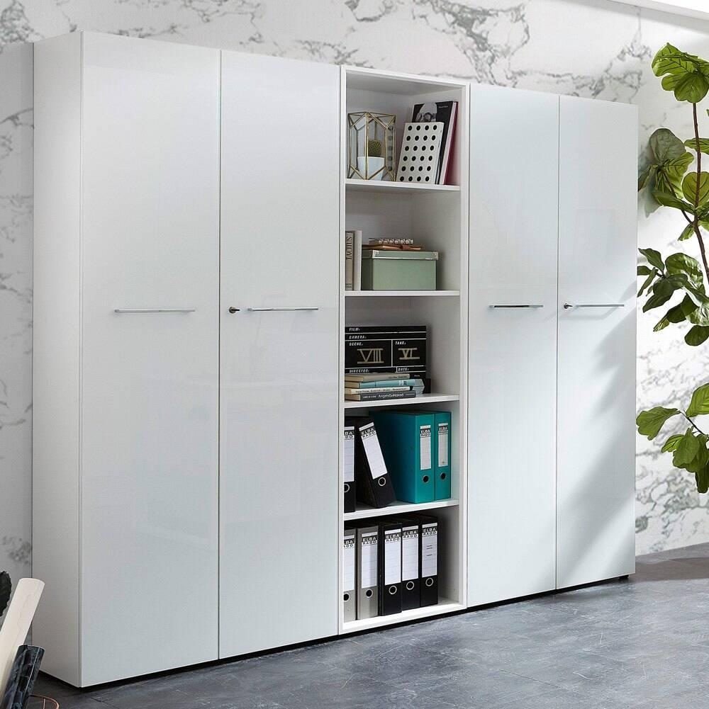 Büro Aktenschrank & Regal Set MONTERO-01 weiß mit Glasfronten und Glasauflage BxHxT ca. 210x196x37cm